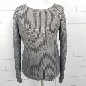 Chicos Size 2 Large Silver Sweater